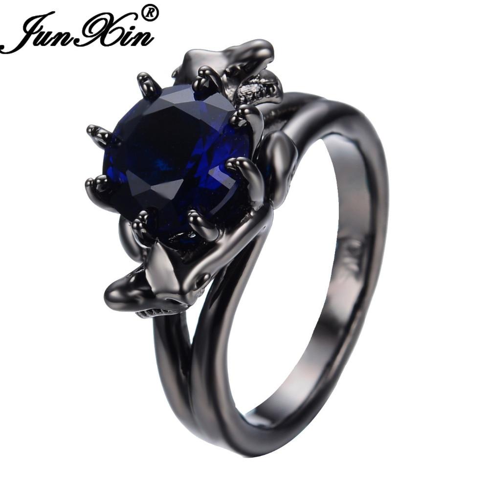 JUNXIN Vintage Black Gold Filled Blue Zircon Stone Engagement Rings For Women and Men Finger Ring Promotion Bijoux