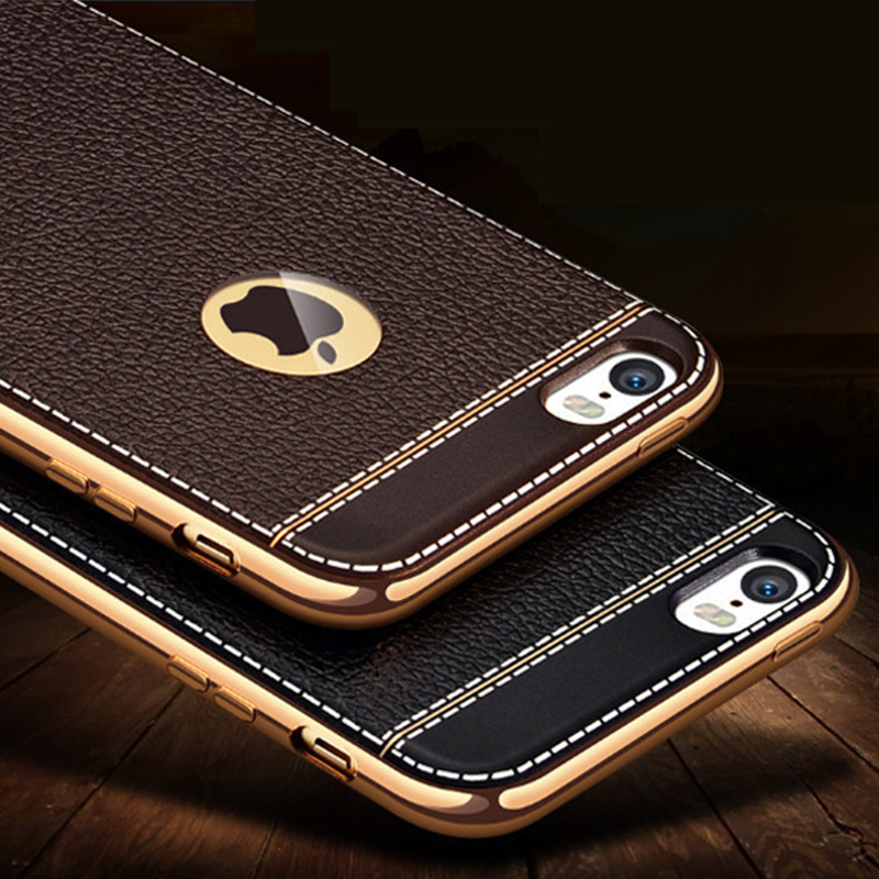 Litchi grain luxury Plating TPU silicone mobile phone case For iphone 6 6s plus 7 Plating Frame clear cover For iphone6 7 5S SE