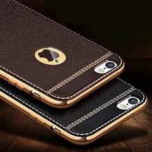 Личи зерна роскошные Покрытие силикона TPU mobile phone case For iphone 6 6 s плюс 7 Покрытие Кадра прозрачная крышка Для iphone6 7 5S SE
