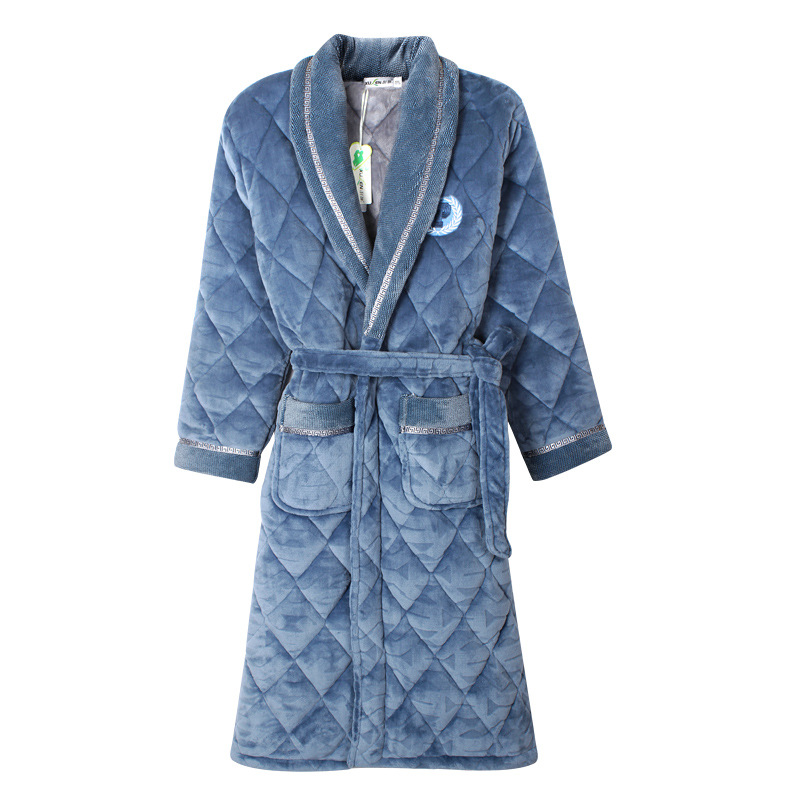 Mens Bath Robe Velvet Cotton Padded Men Thick Plus Size Winter Kimono Homme Peignoir Bathrobe Warm
