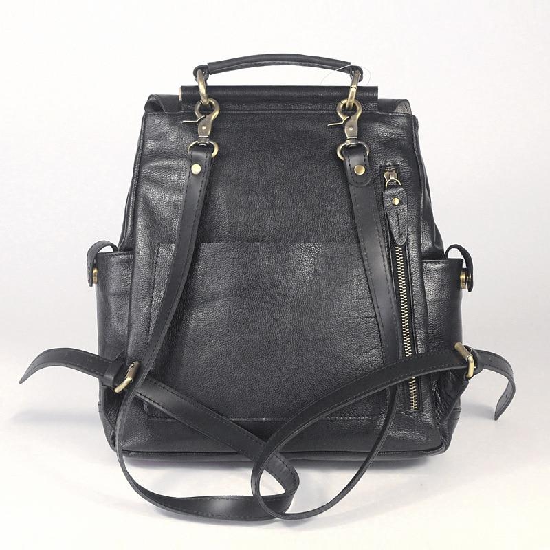 2018 black genuine leather women men backpack unisex cow leather retro  preppy style field pack cowhide school laptop backpack-in Backpacks from  Luggage ... 48b99c0b002d
