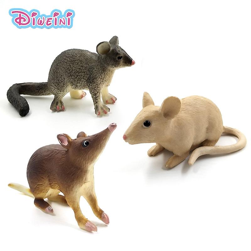 Simulação floresta de plástico pequeno animal figuras modelo para bonito kawaii gato rato birmanês opsum mouse decoração estatuetas brinquedos