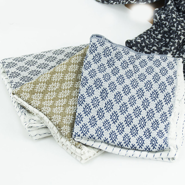 Fashion spring autumn ladies bandana luxury scarve women brand shawl jacquard embroidery scarf literary temperament silk scarf