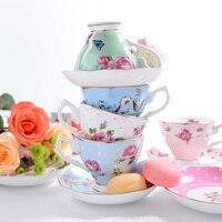 Royal Bone China Flower Tea Cup And Saucer Set Ceramic Coffee Cup Set British Black Tea Cup Chinese Wedding Tea Set