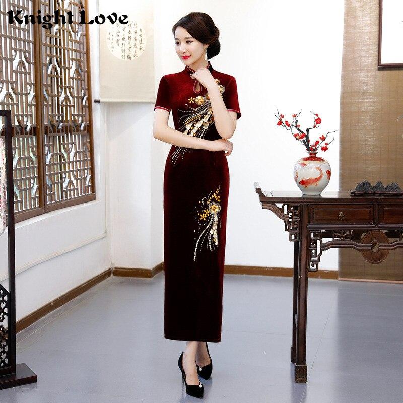 New Oriental Dress Long Velvet Short Sleeve Cheongsam Flower Gold Embroidery Qipao Women s Chinese Traditional