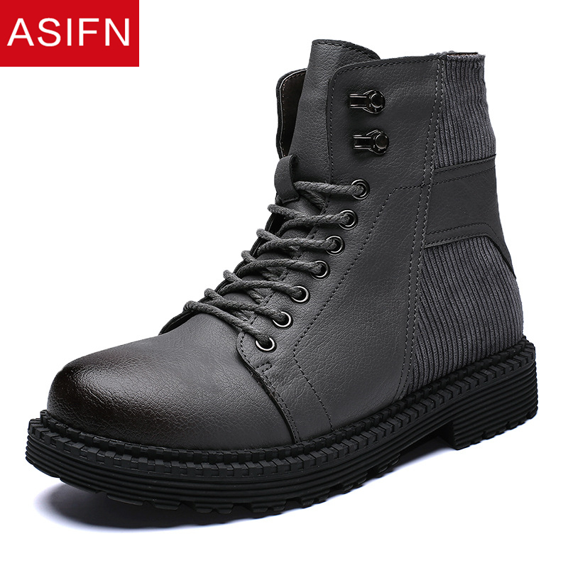 ASIFN Men Boots Ankle Shoes Man Winter Motorcycle Male Shoes Leather Men's Casual Shoes Big Size New Zapatos De Mujer