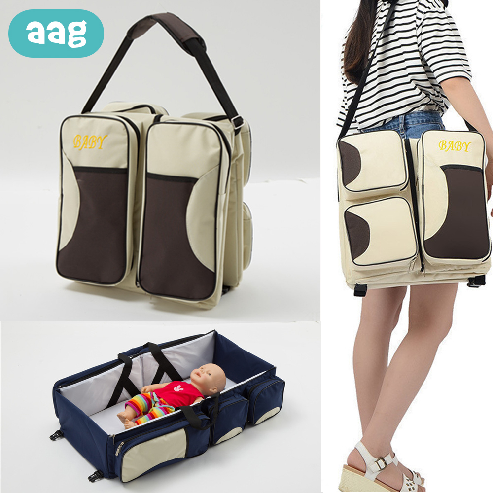 AAG Multi function Travel Mommy Bag Portable Diaper Bag Large Capacity Foldable Baby Travel Bed Basket