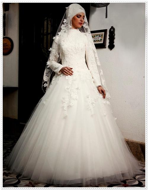 2016 neue Berühmte Designer Ball Muslim Brautkleider Spitze Applique ...