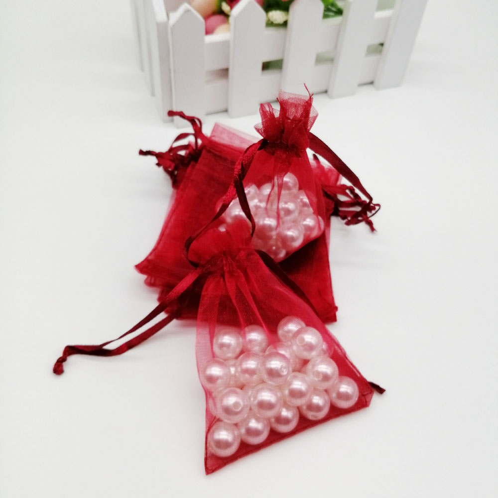 100pcs Organza Bags Wine Red Organza Gift Bags For Jewelry Packaging Display Christmas Wedding Jewelry Storage Drawstring Bag