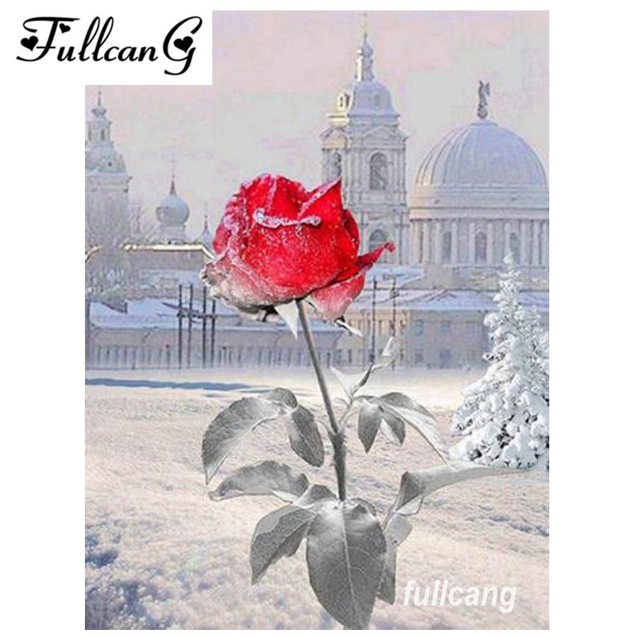 FULLCANG gyémánt hímzés hó rózsa virág diy gyémánt festmény - Művészet, kézművesség és varrás