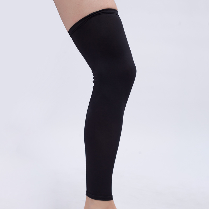 1PC Super Elastic Lycra Basketball Long Knee Pads Anti-UV Support Brace Football Leg Calf Thigh Compression Sleeve Sports Safety