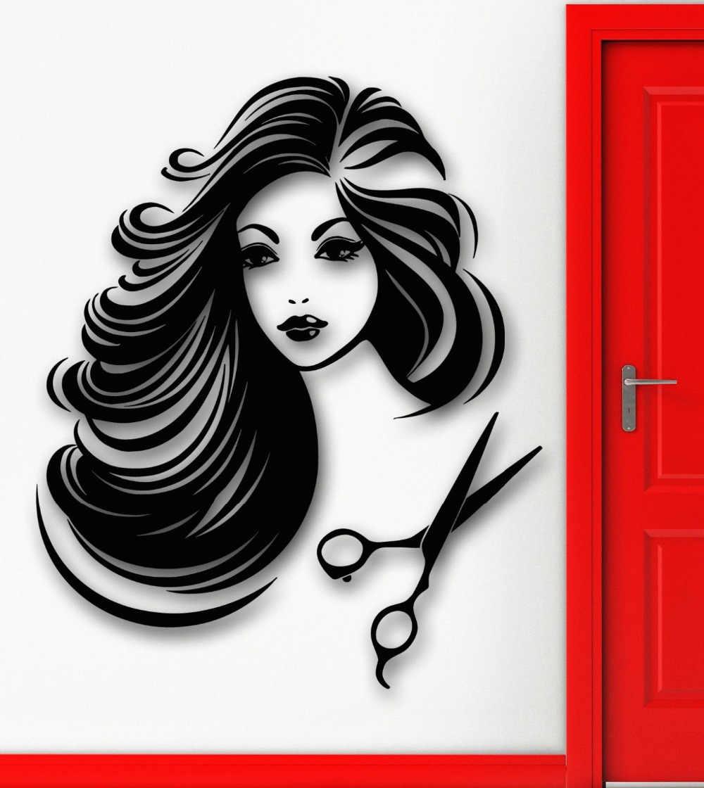 Стена парикмахерской наклейки Pinturas Murais обои наклейка Горячая сексуальная девушка салон красоты волос спа съемные настенные наклейки Фреска 206