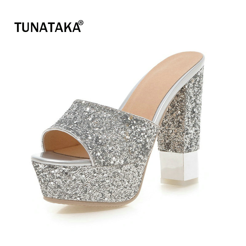 Bling Platform Square High Heel Open Toe Woman Sandals Fashion Slip On Party High Heel Shoes Woman Black Gold Silver White