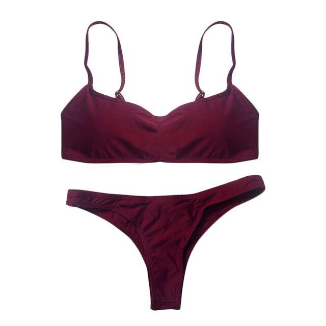 2019 New Summer Women Solid Bikini Set Push-up UnPadded Bra Swimsuit Swimwear Triangle Bather Suit Swimming Suit biquini 5