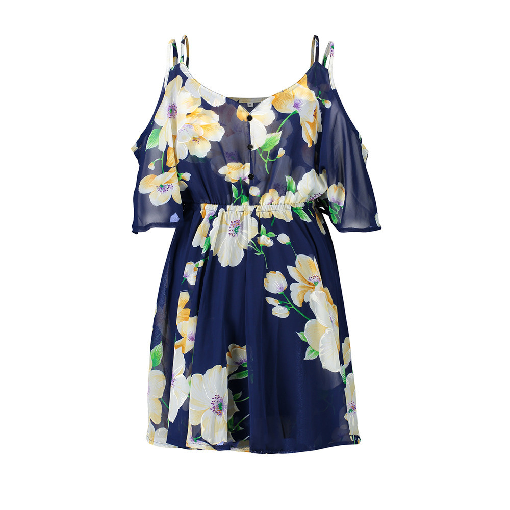 Chiffon Women Dress V neck Strapless Print Waist Ruffled Sexy Beach Holiday Short Floral Beautiful Split Party Dresses F4 in Dresses from Women 39 s Clothing