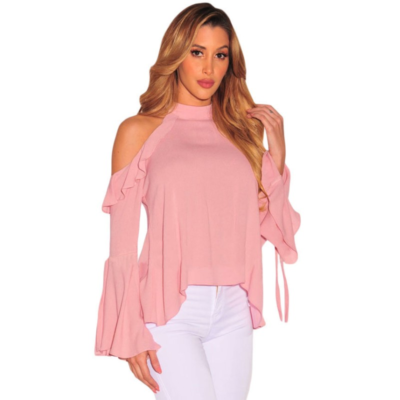 Pink black cold shoulder ruffle flare flare sleeve top for Top selling sites online