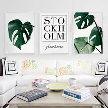 Bianche Wall Plant Leaves and Phrases Simple Decoration Canvas Painting Art Print Poster Picture Home