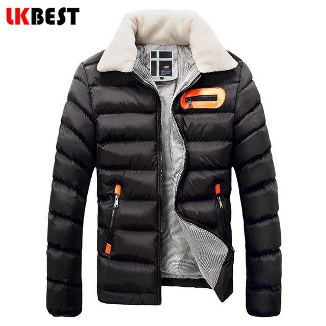 LKBEST 2017 Donw Causal Prendas de Vestir Exteriores delgada hombres chaqueta de invierno cuello de piel casuales Chaquetas Para Hombre de la marca de ropa de hombre ropa de Abrigo (PW605L)