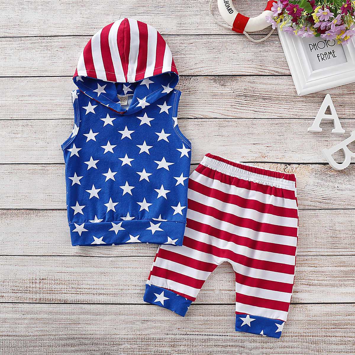 2d7bcbc03 Toddler Baby Clothes Boy Summer Set 4th of July Stars and Striped Patriotic  Hooded Tops+