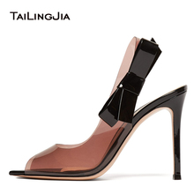 2018 Big Size Sexy Stiletto High Heel Ladies Clear Pumps Knotted Heels Peep Toe Nude PVC Slingbacks Transparent Shoes Woman