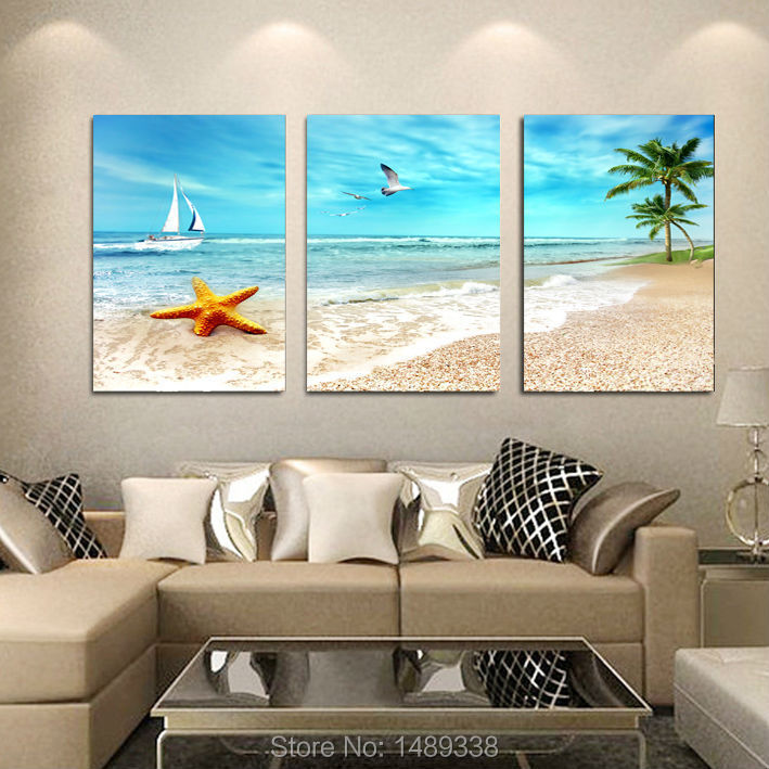 3 Panel Large Beach Canvas Seascapes Palm Tree Paintings 3 Piece