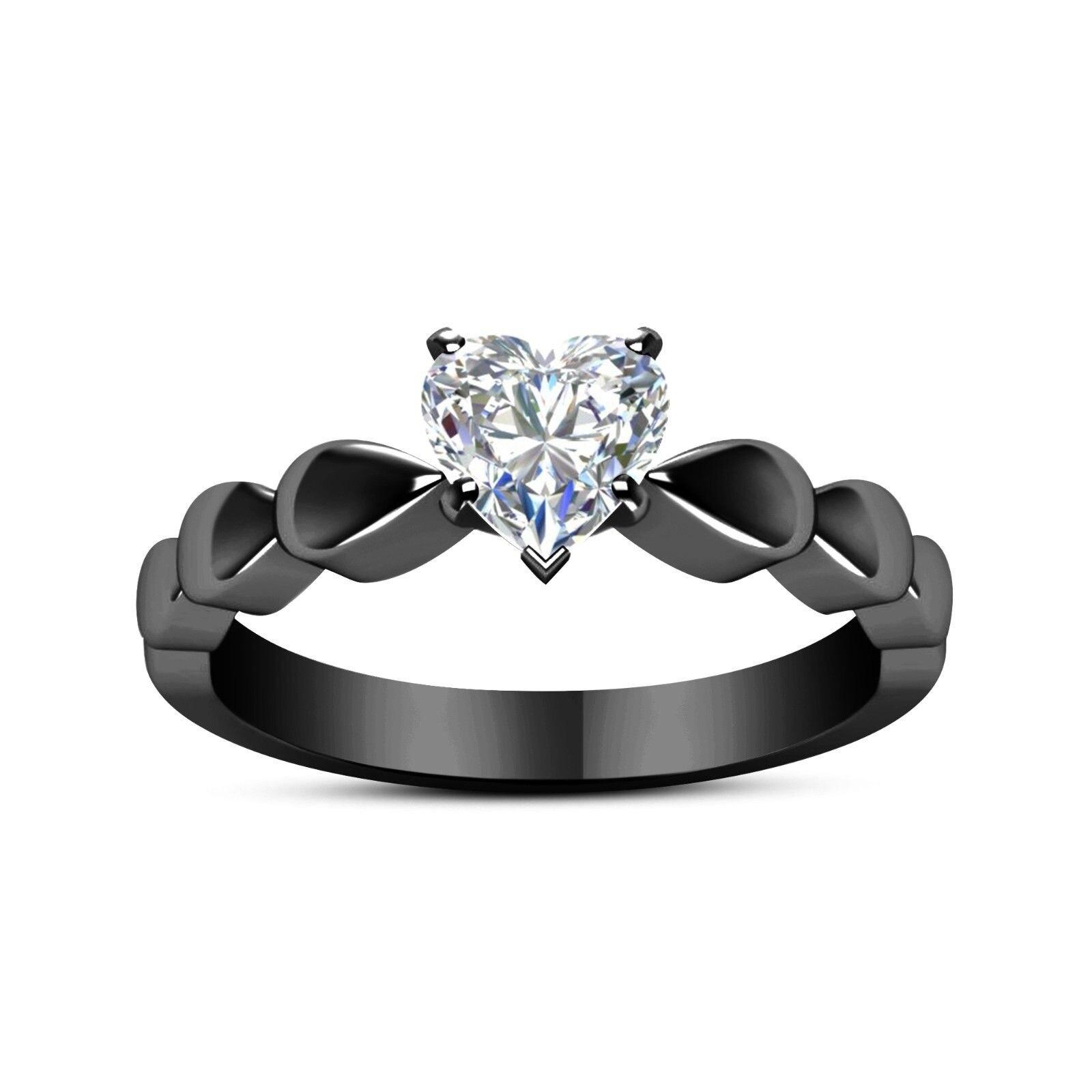 White Love Heart Zircon Black Ring Women 2018 Fashion Jewelry Couple Rings Finger Ring Ladies Party Rings Anel Feminino