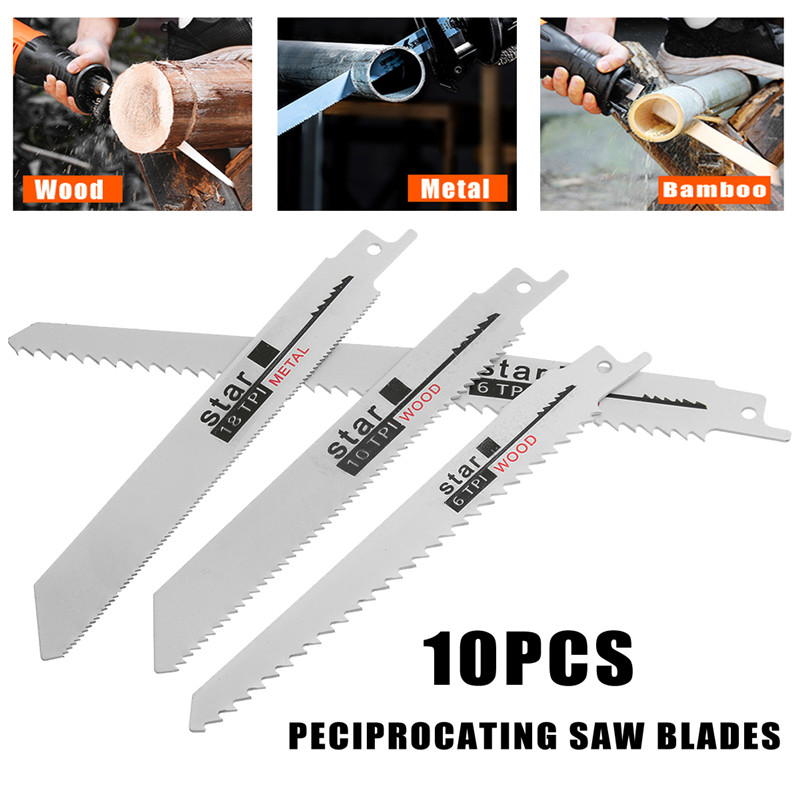 Image 5 - 10pcs/Set Saw Blades Set Carbide Woodworking Wood Fibreboard Metal Cutting Reciprocating Saw Blades Power Tools Accessories-in Saw Blades from Tools