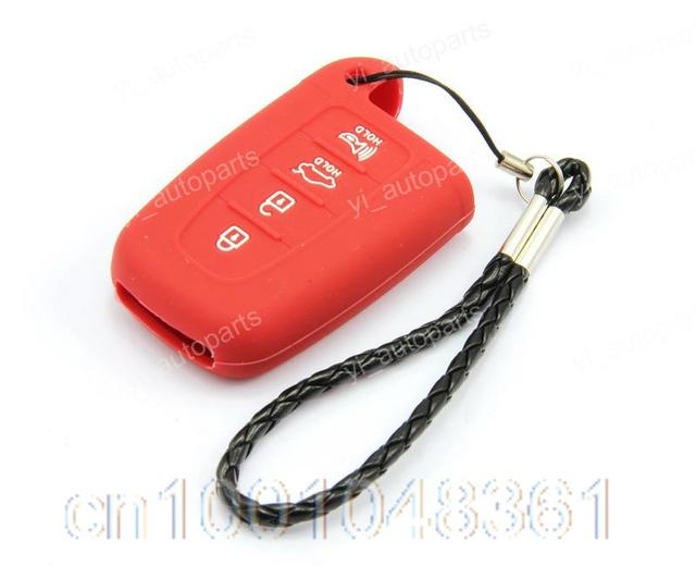 Red Remote Silicone Shell Case Cover For Hyundai Sonata Equus Genesis 4 Button Smart Key Protective