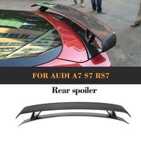 Carbon Fibre Car Rear Trunk Spoiler Lip Wing for Audi A7 S7 RS7 Sedan Only 08 11 black FRP