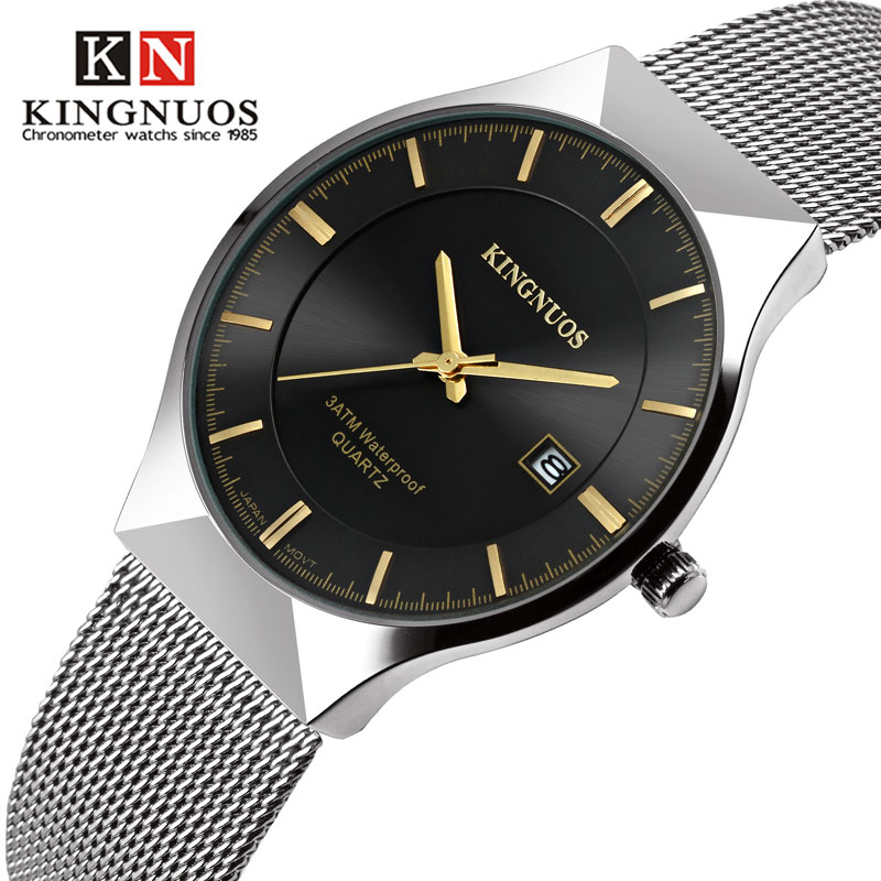 KINGNUOS New Quartz Watch Men Watches Top Luxury Brand Male Clock Stainless Steel Wrist Watch For Men Hodinky Relogio Masculino стоимость