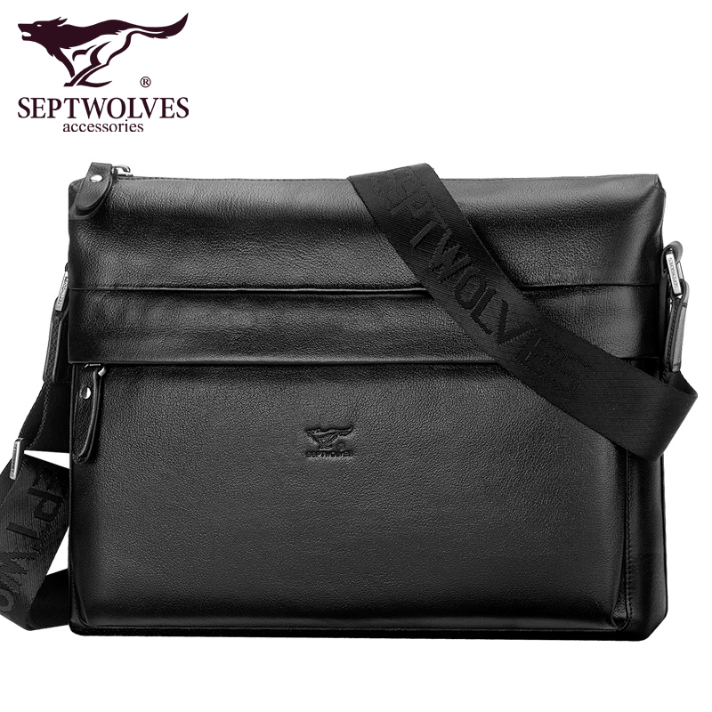 Septwolves fashion brand men bag genuine leather men messenger bags business casual male cowhide shoulder недорго, оригинальная цена