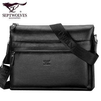 Septwolves fashion brand men bag genuine leather men messenger bags business casual male cowhide shoulder