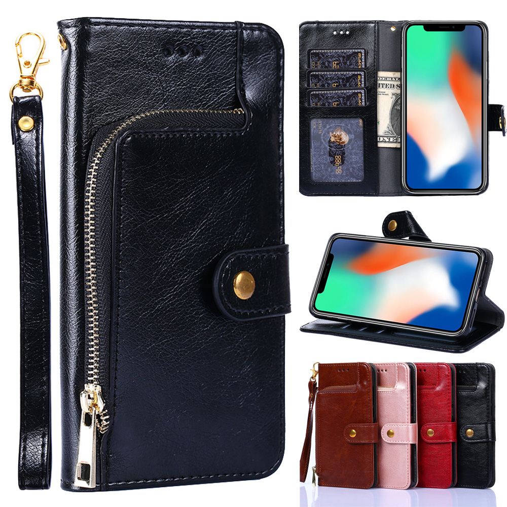 Zipper Leather <font><b>Flip</b></font> <font><b>Case</b></font> for <font><b>Samsung</b></font> Galaxy J2 J3 J4 + J5 J6 <font><b>J7</b></font> J8 2015 2016 <font><b>2017</b></font> Pro 2018 Prime <font><b>J7</b></font> Core DUO Wallet Phone Bag image
