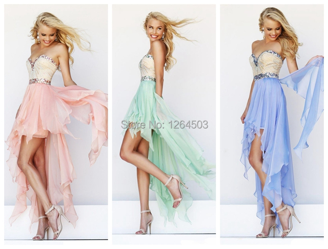 Summer Light Color Homecoming Party Dress To Prom Bridesmaid Gown Pink Green Blue 4 Colors