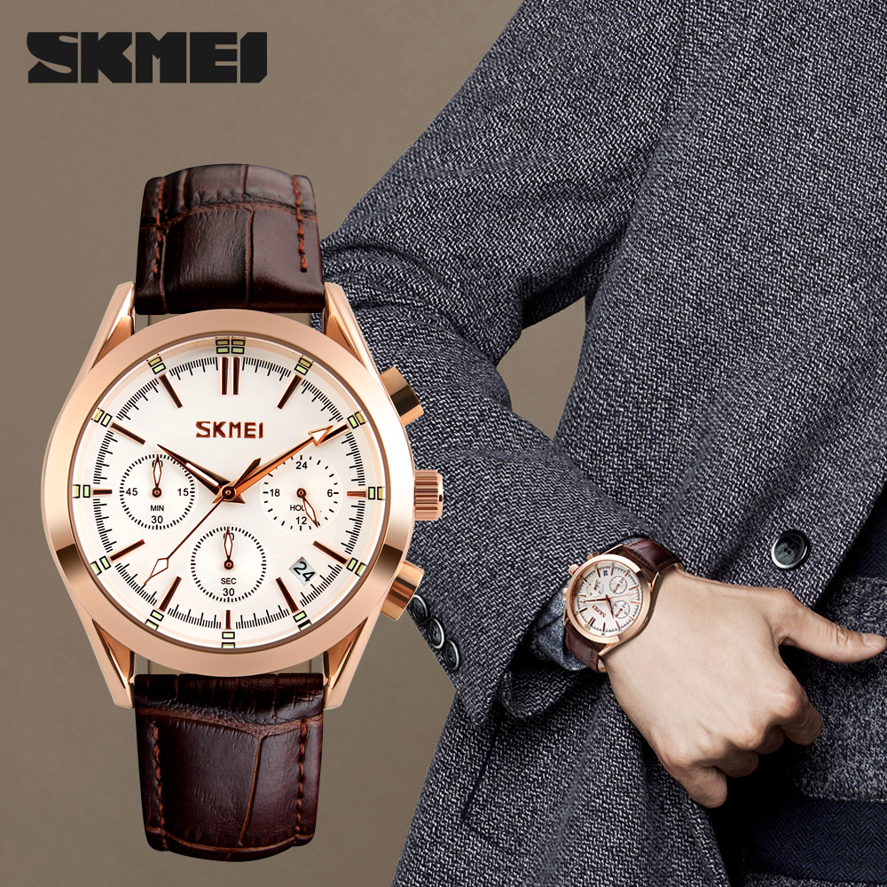 SKMEI Luxury Brand Men's Fashion Casual Sport Watches Men Waterproof Leather Quartz Watch Man military Clock Relogio Masculino 2017 new top fashion time limited relogio masculino mans watches sale sport watch blacl waterproof case quartz man wristwatches