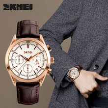 SKMEI Luxury Brand Mens Fashion Casual Sport Watches Men Waterproof Leather Quartz Watch Man military Clock Relogio Masculino