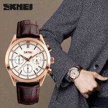 SKMEI luksusowej marki moda męska Casual Sport zegarki mężczyźni wodoodporny skórzany zegarek kwarcowy człowiek zegarek wojskowy Relogio Masculino