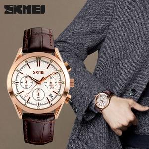 Image 1 - SKMEI marque de luxe hommes mode Sport décontracté montres hommes étanche en cuir Quartz montre homme militaire horloge Relogio Masculino