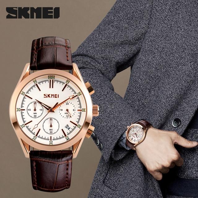 SKMEI marque de luxe hommes mode Sport décontracté montres hommes étanche en cuir Quartz montre homme militaire horloge Relogio Masculino