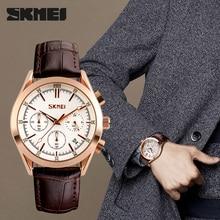 Skmei marca de luxo moda masculina casual esporte relógios homem relógio de quartzo couro à prova dwaterproof água militar relogio masculino