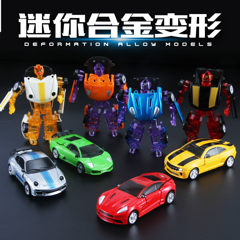 Newest Mini Transformation Car Styling Robot Alloy&Plastic Classic Deformation Educational Toys Figures for Kids Baby Vehicle