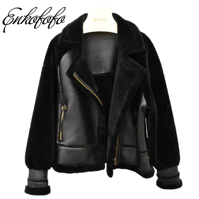 Double Faced Real Fur Coat Women Winter Natural Merino Sheep Fur Coats Loose Lantern Sleeve Fashion Thick Warm Leather Jacket