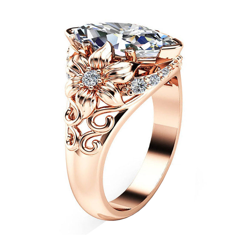 Luxury Flower Ring Horse-Eye Zircon Plated Rose Gold Party Prom Jewelry