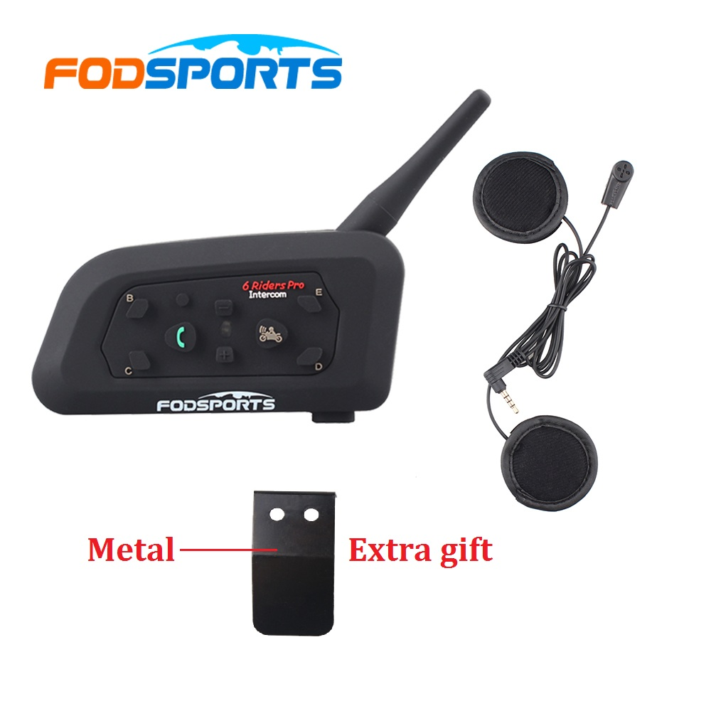 1 pc V6 Pro Intercom Helmet Bluetooth Headset Motocicleta Comunicación para 6 jinetes intercomunicador moto Interphone MP3 GPS