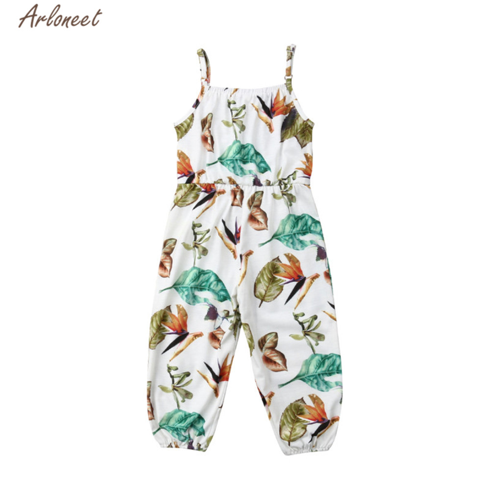 Toddler Baby Kids Girls Floral Print Sleeveless Strap Rompers Jumpsuit Outfits