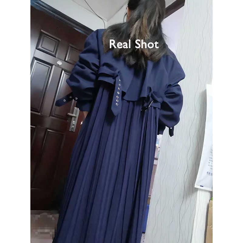 2020 אופנה מגמת נשים ארוך מעיל קפלים שיפון אחוי מעיל נשי אביב אלגנטי רופף גדול גודל תעלת לשלוח בתוך 12h