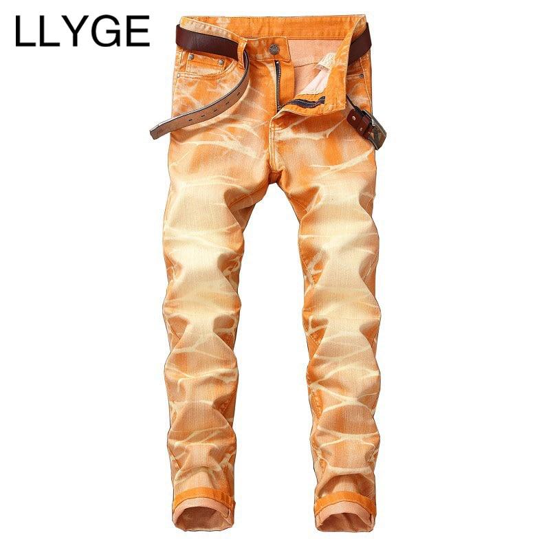 LLYGE Для Мужчин раскрашенная Джинсы Весна High Street Омывается Проблемные Джинсы 5 цветов плюс Размеры хип-хоп Для мужчин прямые джинсовые штаны ...