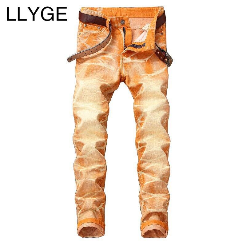 LLYGE Mens Colorized Denim Jeans Spring High Street Washed Distressed Jeans 5 Colors Plus Size Hip Hop Men Straight Denim Pants