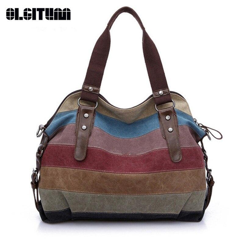 OLGITUM Canvas Bag Handbags 2017 New Women's Bag Handbag Shoulder Bag Stitching Hit color Messenger Bag Big HB211