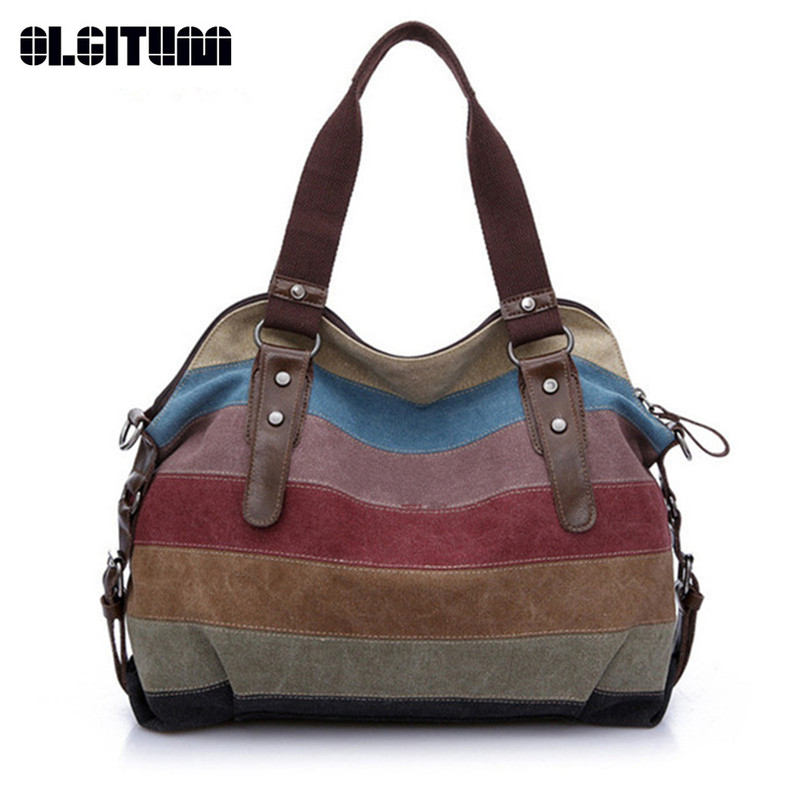 OLGITUM Canvas Bag Handbags 2018 New Women's Bag Handbag Shoulder Bag Stitching Hit color Messenger Bag Big HB211 etersto2018 new casual fashion stitching hit color handbags new fashion handbags parker women s party wallets ms messenger bag
